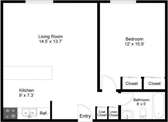 Fairmount Hills 1BR Floor Plan