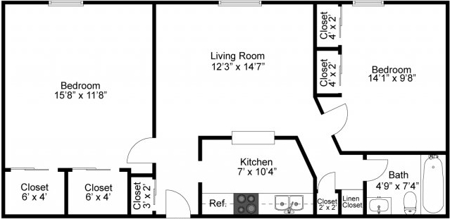 Fairmount Hills 2BR Floor Plan