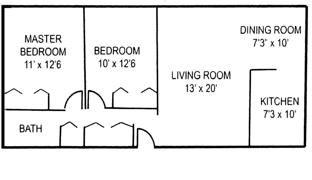 Crestmont Apartments 2 BR Floor Plan