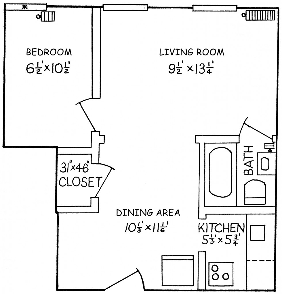 Campus View Small One BR Floor Plan