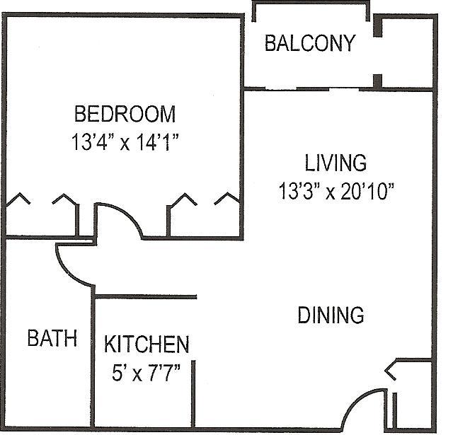 Beaver Terrace 1 BR Floor Plan