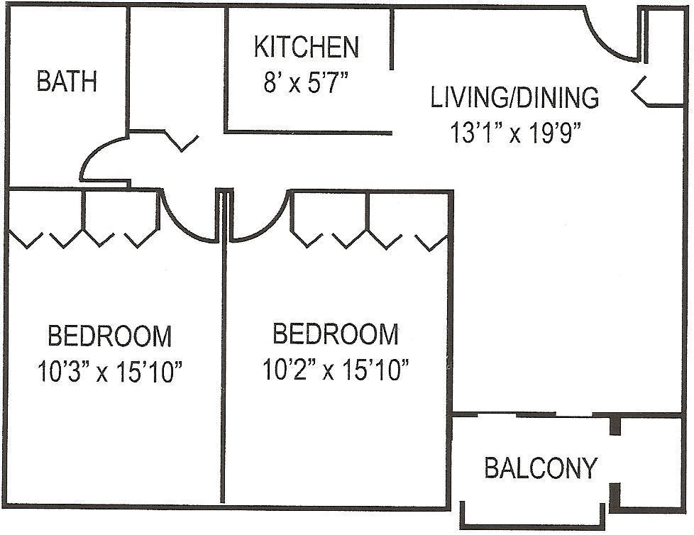 Beaver Terrace 2 BR Floor Plan