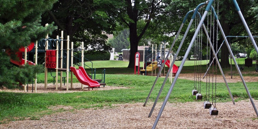 Playground with swings and slides