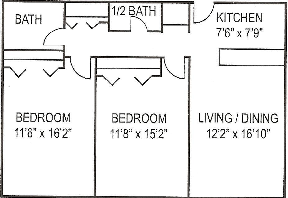 Hetzel Plaza 2 BR Floor Plan