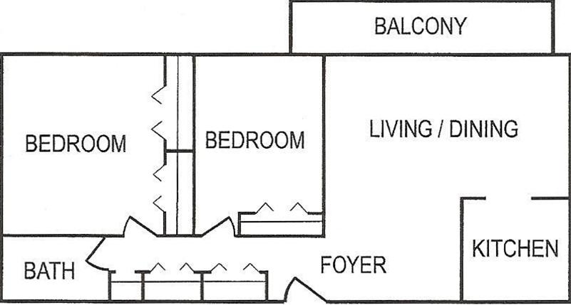 Penn Tower 2 BR LG Floor Plan