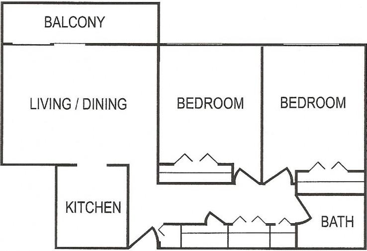 Penn Tower 2 BR Stnd Floor Plan