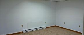 Unfurnished, carpeted living room