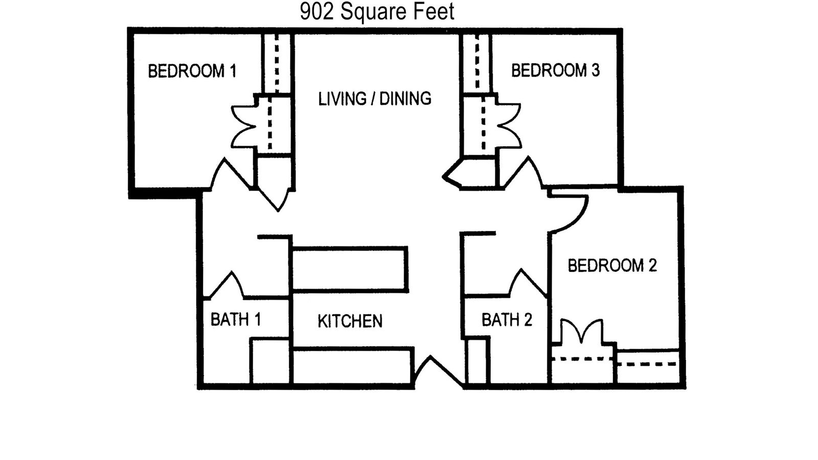 Bryce Jordan Tower 3 BR Floor Plan