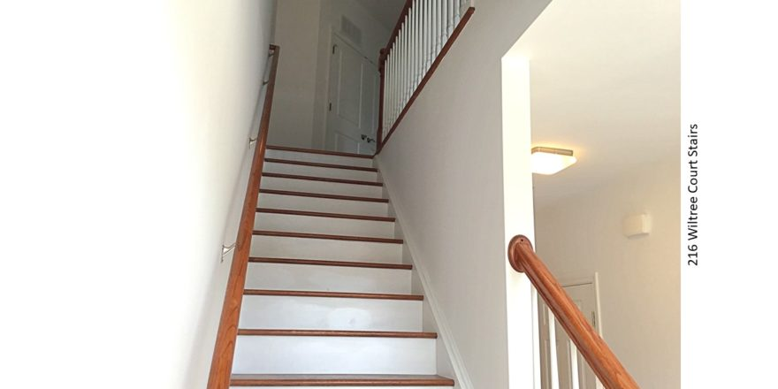 Stairwell with wooden stairs