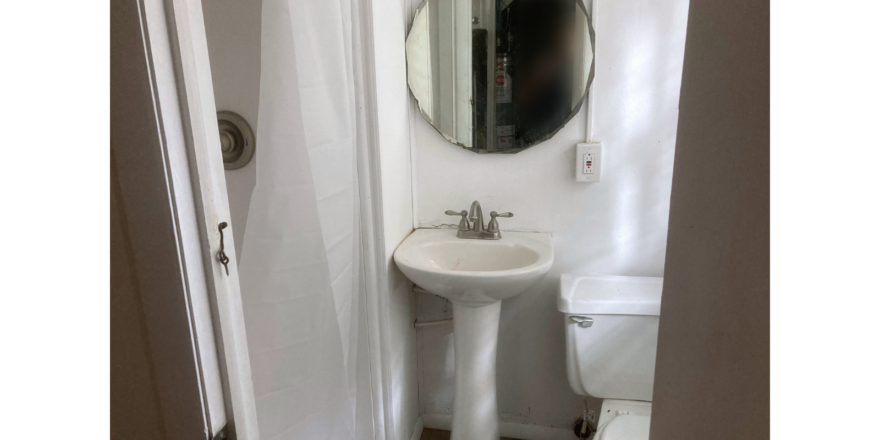 Small bathroom with shower stall, pedestal, and toilet